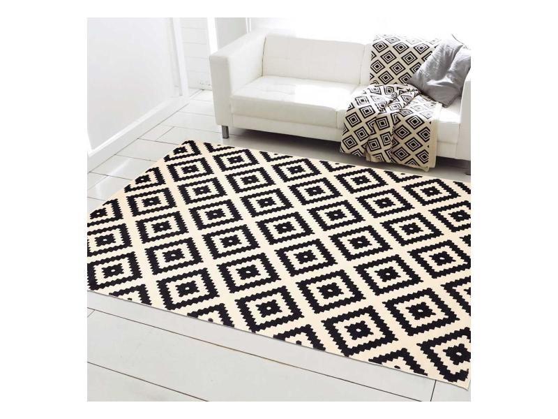 tapis design et moderne 140x200 cm rectangulaire orma noir salon adapte au chauffage par le sol