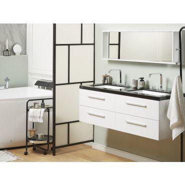 Meuble Double Vasque A Tiroirs Miroir Inclus Blanc Malaga 2261 Vente De Beliani Conforama