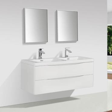 Meuble Salle De Bain Design Double Vasque Piacenza Largeur 120 Cm Blanc Laque Vente De Salle De Bain Pretes A Emporter Conforama