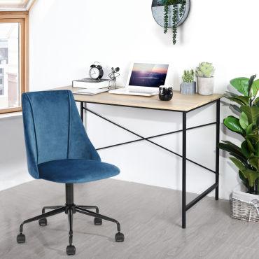 chaise de bureau bleu velours metal