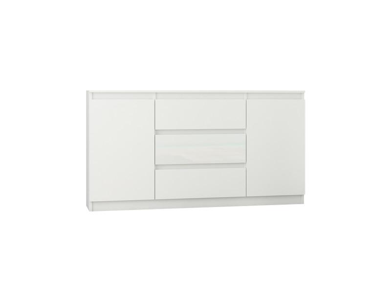 albi w1 commode chambre style tendance 140x40x76 3 tiroirs 2 portes meuble rangement chambre salon bureau chiffonier blanc gloss