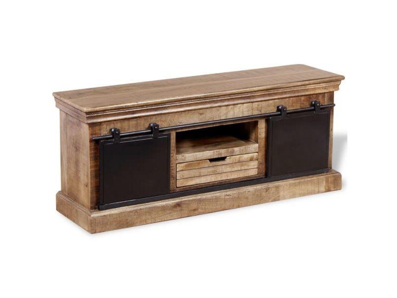 sublime meubles edition kampala meuble tv avec 2 portes coulissantes bois de manguier massif