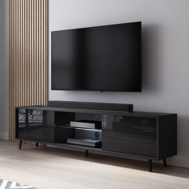 meuble tv lefyr 140 cm noir mat noir brillant eclairage led i58258608