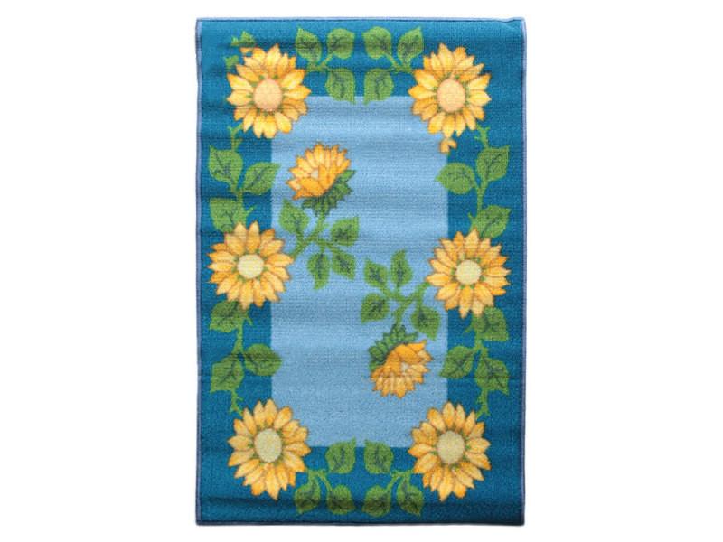 bio line tapis de cuisine antiderapant tournesol jaune et bleu 50x80