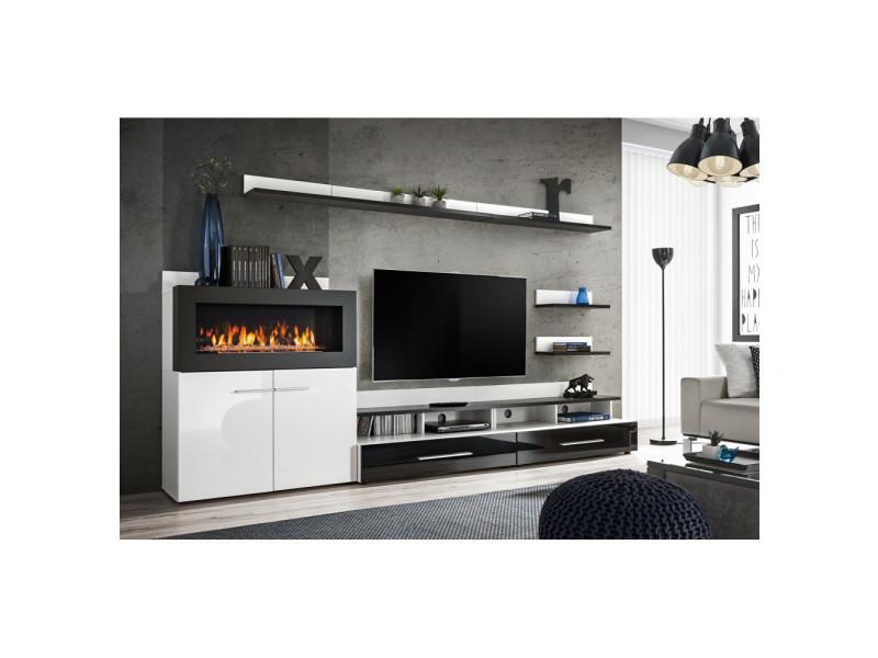 ensemble murale meuble tv camino 8 elements blanc et noir