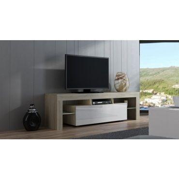 meuble tv spider a led en chene mat