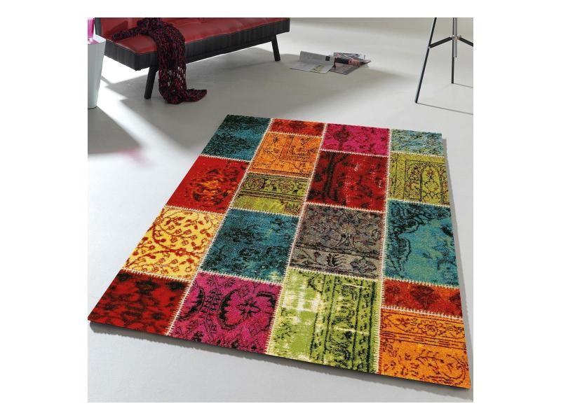 tapis design et moderne 160x230 cm rectangulaire ethno 819 110 multicolore salon adapte au chauffage par le sol