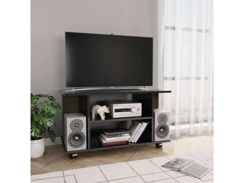 vidaxl meuble tv avec roulettes noir brillant 80x40x40 cm agglomere