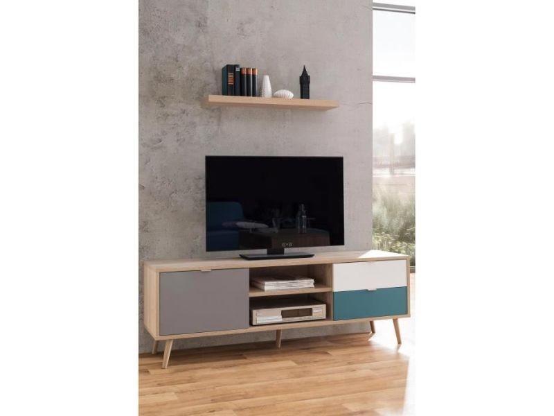 meuble tv meuble hi fi cuba meuble tv scandinave decor chene gris blanc et bleu petrole l 150 cm