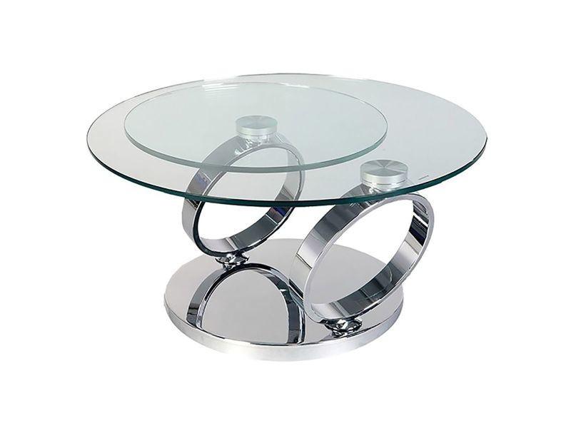 Venetia Table Basse Acier Et 2 Plateaux Verre Vente De Altobuy Conforama