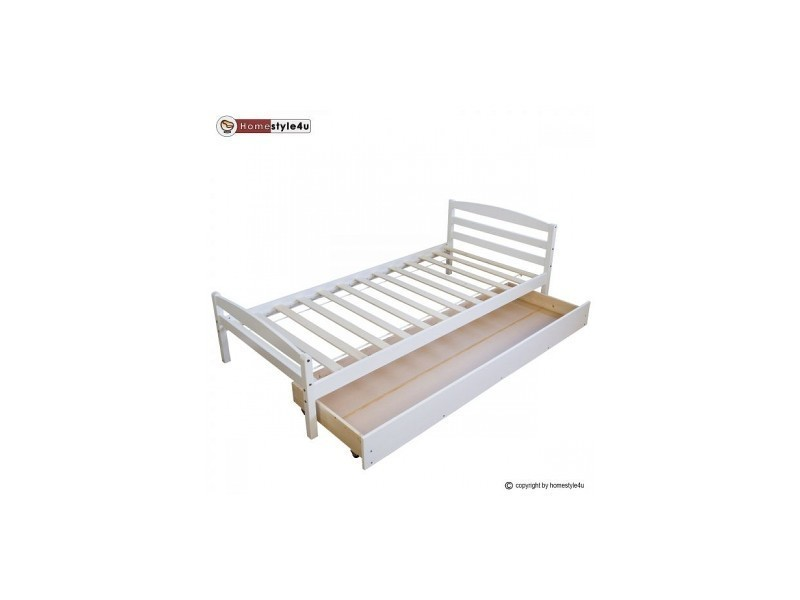 lit simple blanc 90x200 avec pied de lit et tiroir
