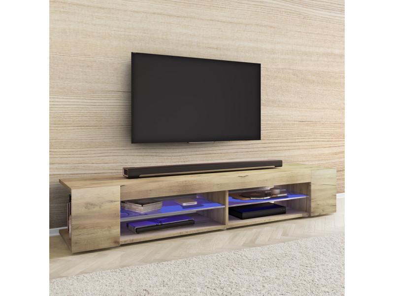 meuble tv mitchell 180 cm chene wotan avec led