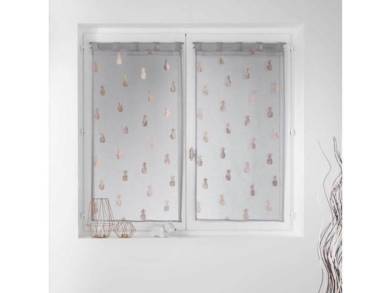 paire vitrages droits sables et imprimes en or rose 2 x 60 x 120 cm