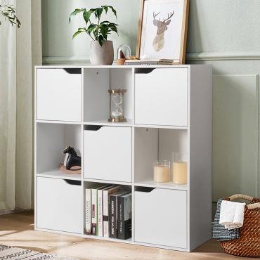 Giantex Bibliotheque De Rangement Cube De Rangement 5 Avec Portes Ideal Pour Salon Chambre Entree Etc 90 X 29 X 90 Cm Blanc Vente De Bibliotheque Conforama