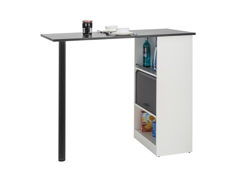 table comptoir de cuisine blanc noir faytou l 130 x l 58 x h 107 neuf