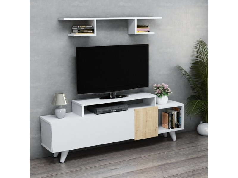 homemania lara meuble tv avec etageres portes tablettes du salon blanc chene en bois 161 x 29 5 x 58 cm