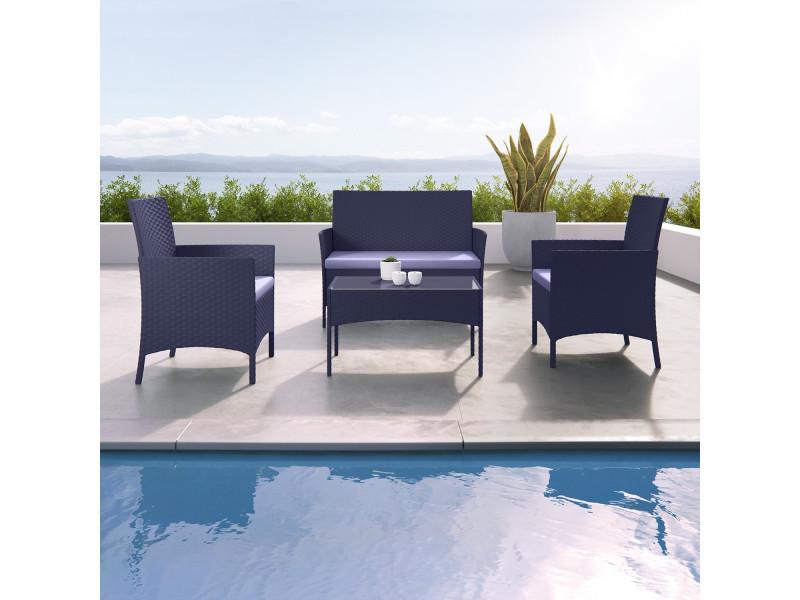 imora salon de jardin resine tressee noir gris ensemble 4 places canape fauteuil table