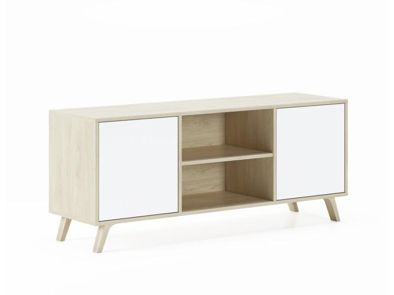 meuble tv 140 avec 2 portes salon modele wind structure couleur puccini portes couleur blanche mesure 140x40x57cm hauteur