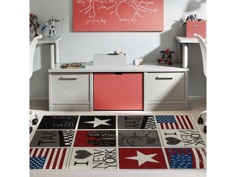 tapis enfant 235x320 cm rectangulaire bc new york usa rouge chambre adapte au chauffage par le sol