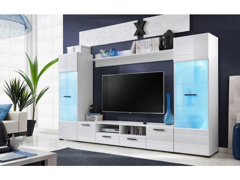 meubles switch 260 cm blanc laque avec vitrines led multicolore