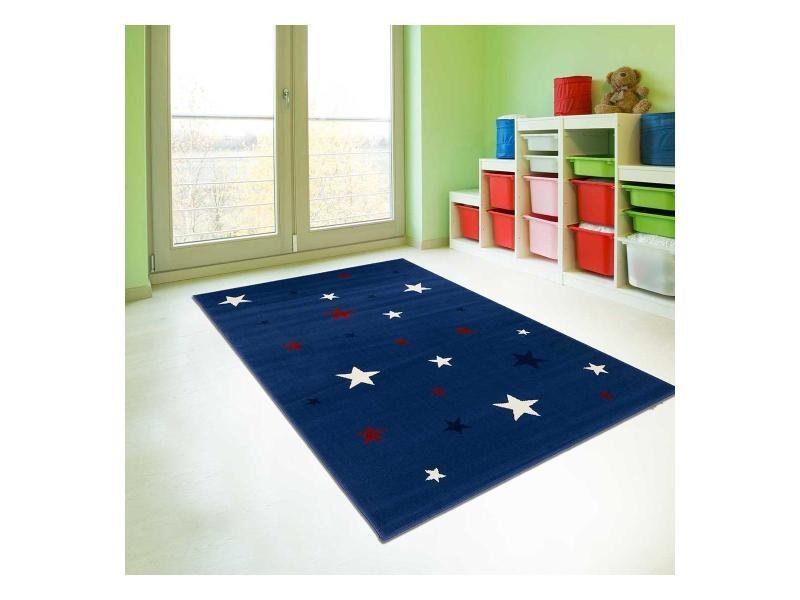 tapis enfant 120x170 cm rectangulaire af nightsky bleu chambre adapte au chauffage par le sol