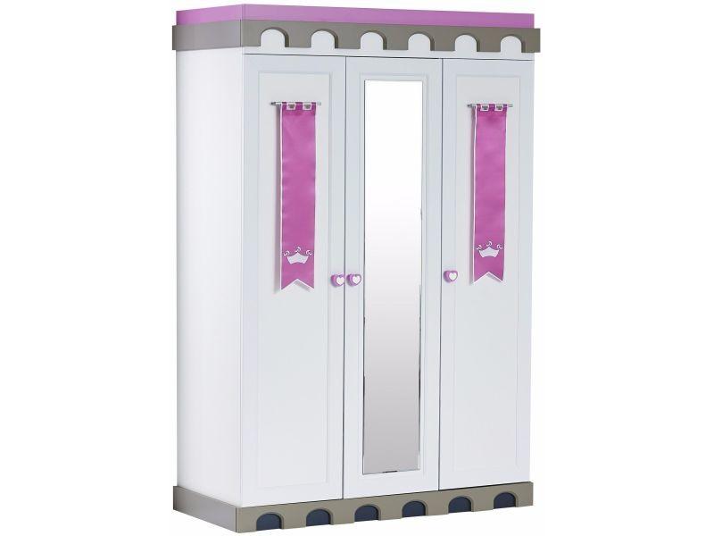armoire pour enfant 139 cm avec 3 portes miroir design chateau coloris blanc et rose p 17114 co c nikica