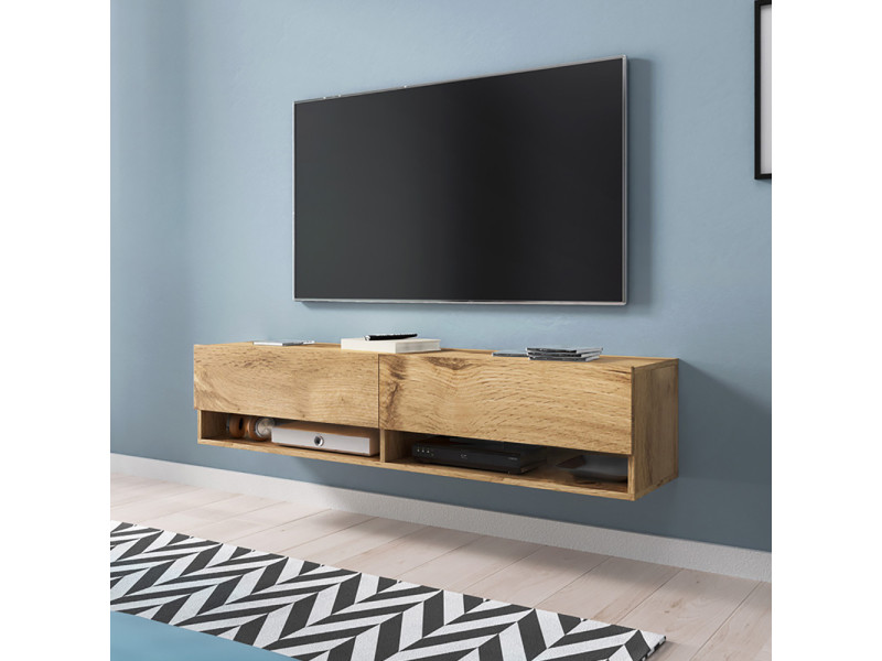 meuble tv wander 140 cm effet chene wotan