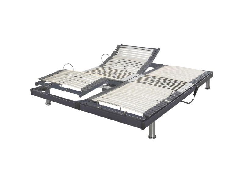 Sommier Electrique De Relaxation Gris Extra Plat 2x70x190 Vente De Someo Conforama