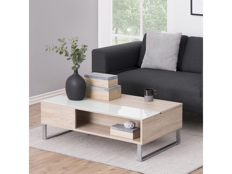 table basse kostrena 110x60 cm chene sonoma plateau relevable element en verre trempe
