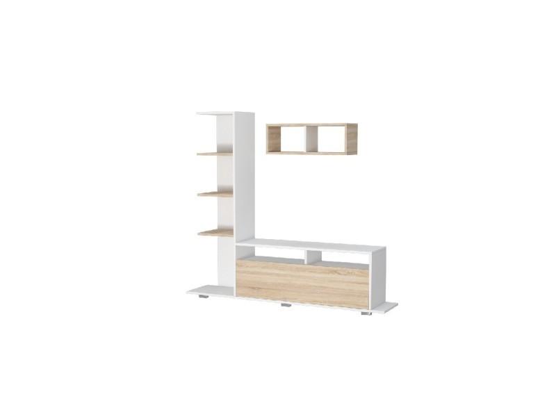 homemania meuble tv argo avec bibliotheque etagere tablettes integrees de salon blanc sonoma en bois 150 x 28 5 x 125 cm