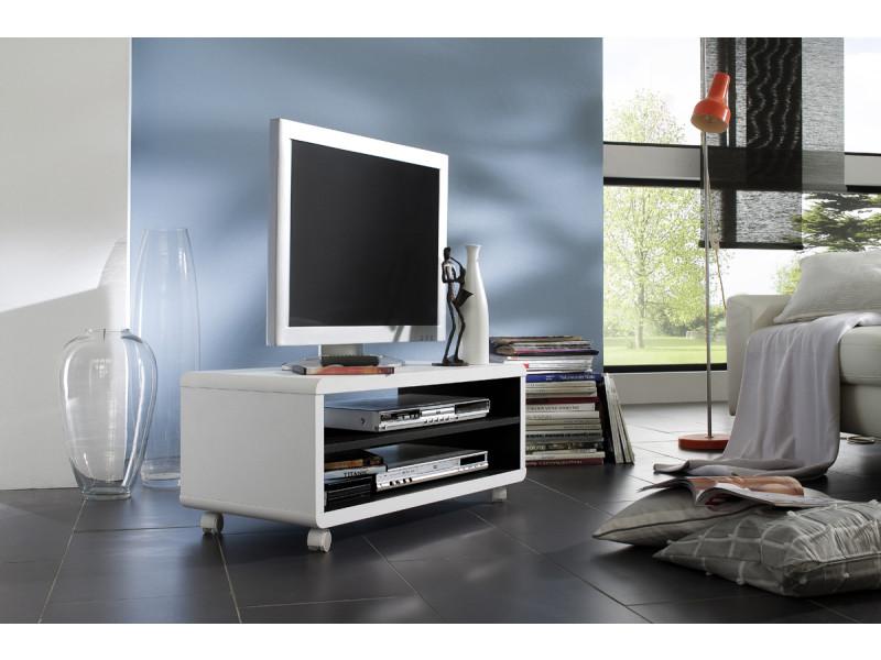 meuble tv decor blanc et noir avec roulettes l79 x h35 x p39 cm pegane