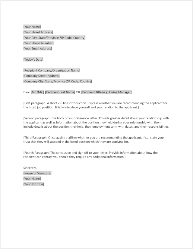 Reference Letter Template - Download Free Word Template