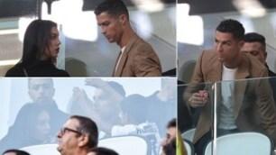 Juventus-Young Boys: Ronaldo tifa in tribuna con Georgina e Cristianinho