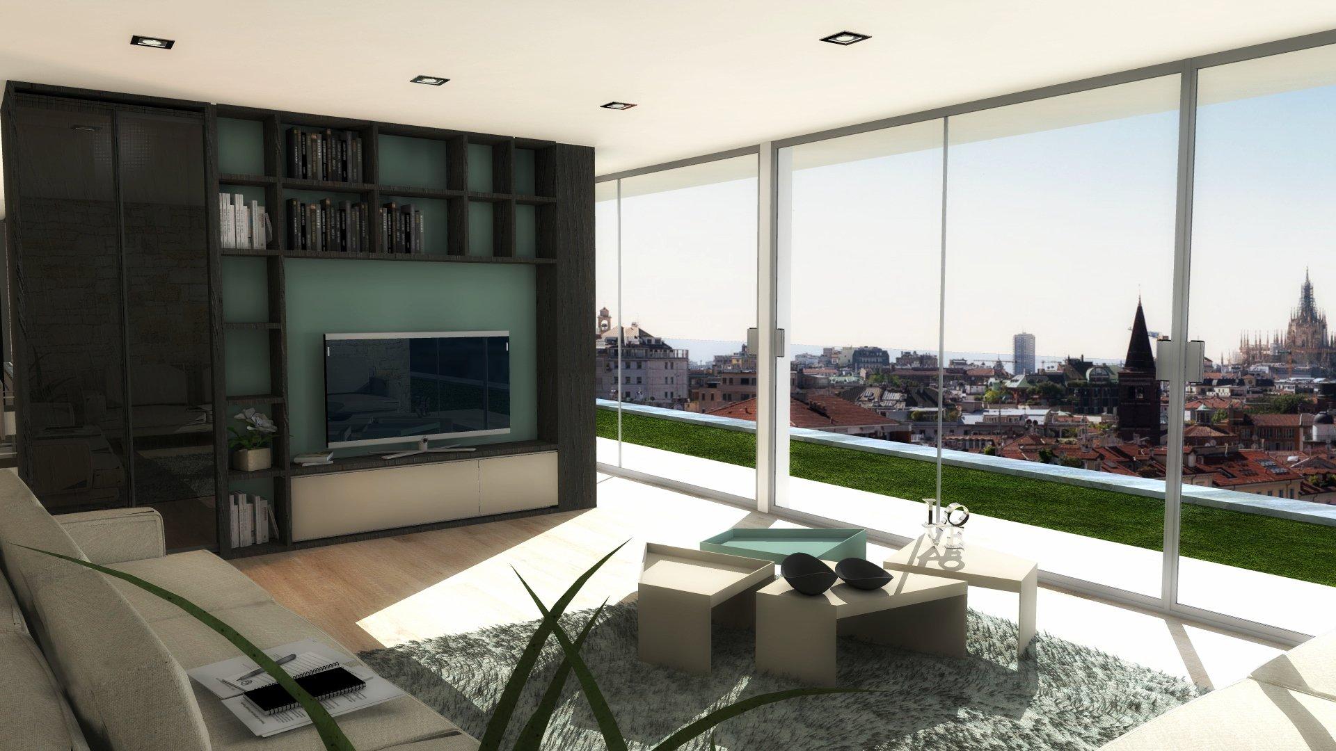 Dividere soggiorno e cucina senza pareti. Un progetto in 3D ...