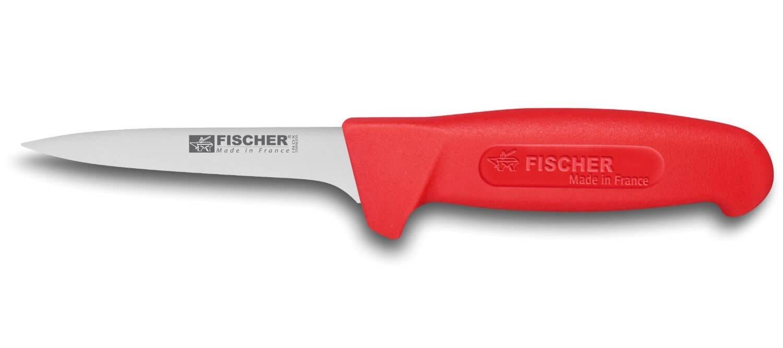 couteau a desosser professionnel fischer haccp lame usee 11cm manche rouge