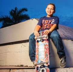 """Angel, 6, vascular malformation, """"I wish to be a professional skateboarder."""" Photo: Make-A-Wish Foundation"""