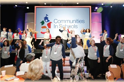 Employees at the Communities In Schools national office participate in an all-staff dance.