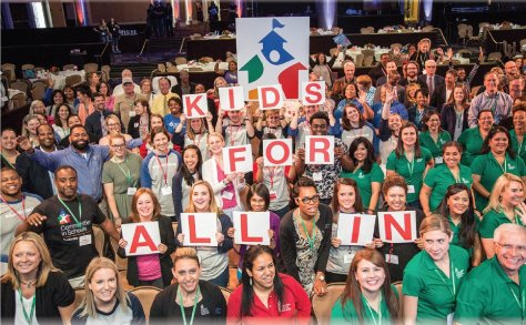 """Staff at Communities In Schools take part in the """"All In For Kids Town Hall."""""""