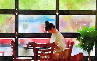 Woman in Cafe. Art by Linda Naiman