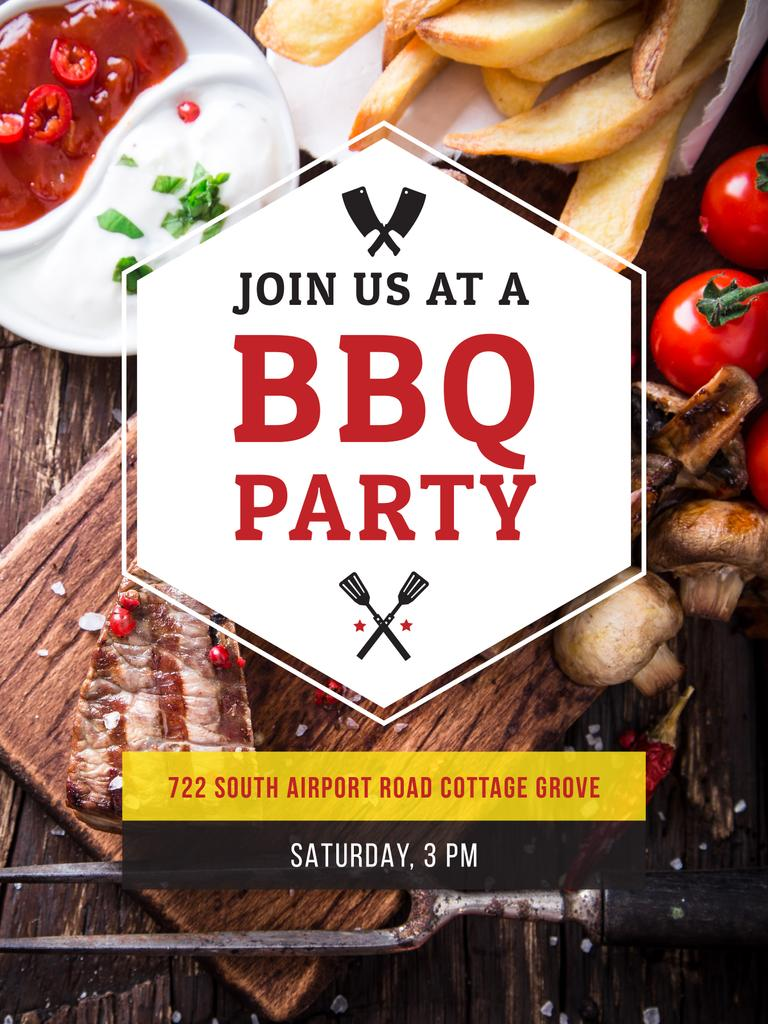 BBQ Party Poster Poster US 18x24in Template Design Online Crello