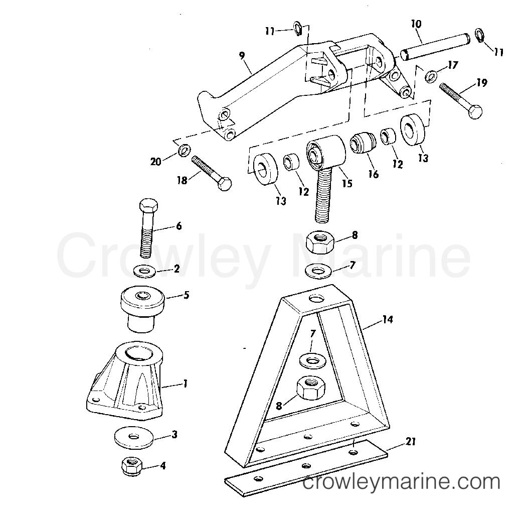 Array engine mount group 165 hp w manual trim r2 suffix models 1975 rh crowleymarine