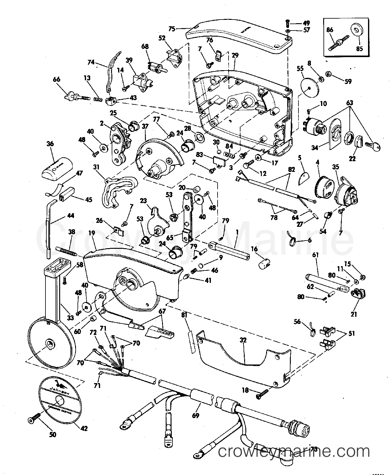 diagram of 1972 mercury marine mercury outboard 1075202 throttle  controll box wiring diagram johnson outboard #13