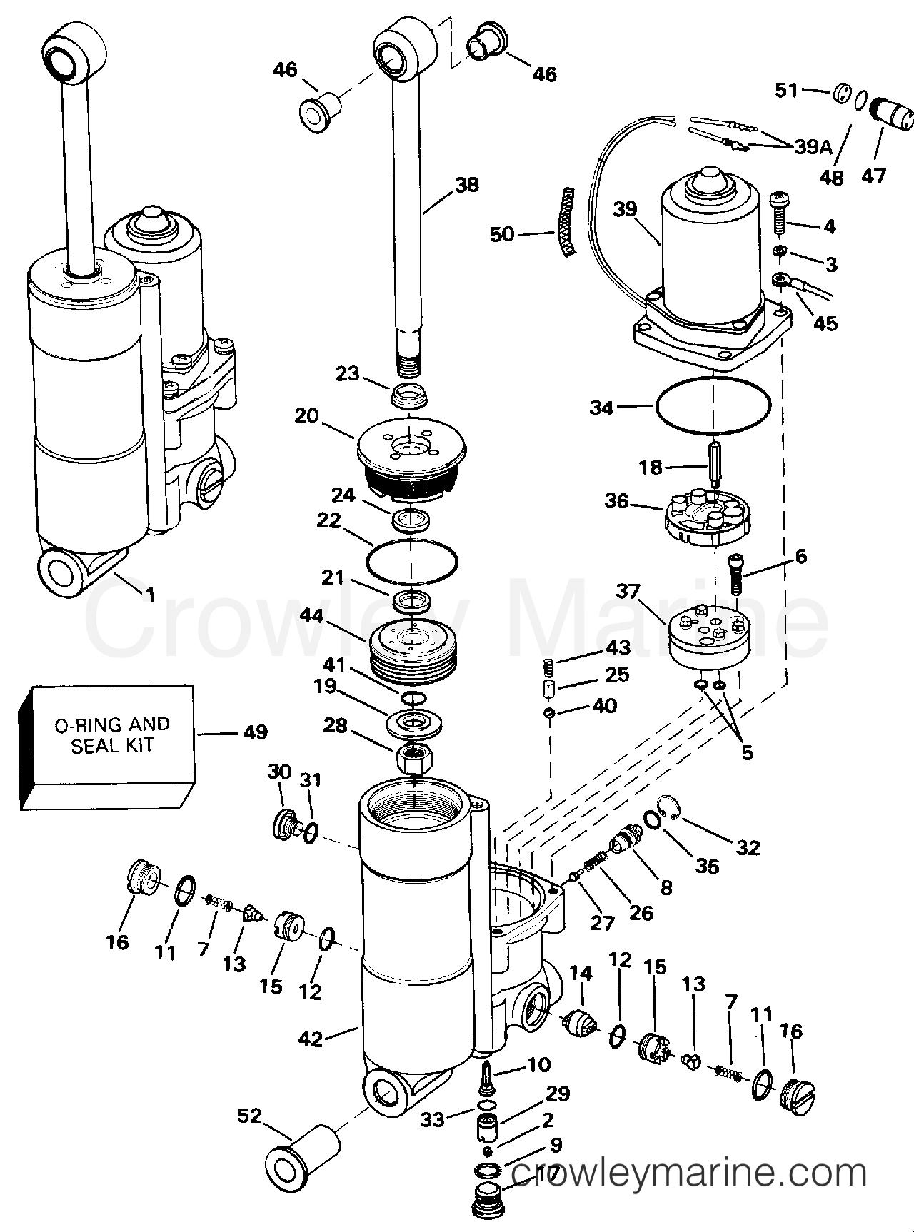Manual array power trim tilt b model number suffix only 1993 evinrude rh crowleymarine