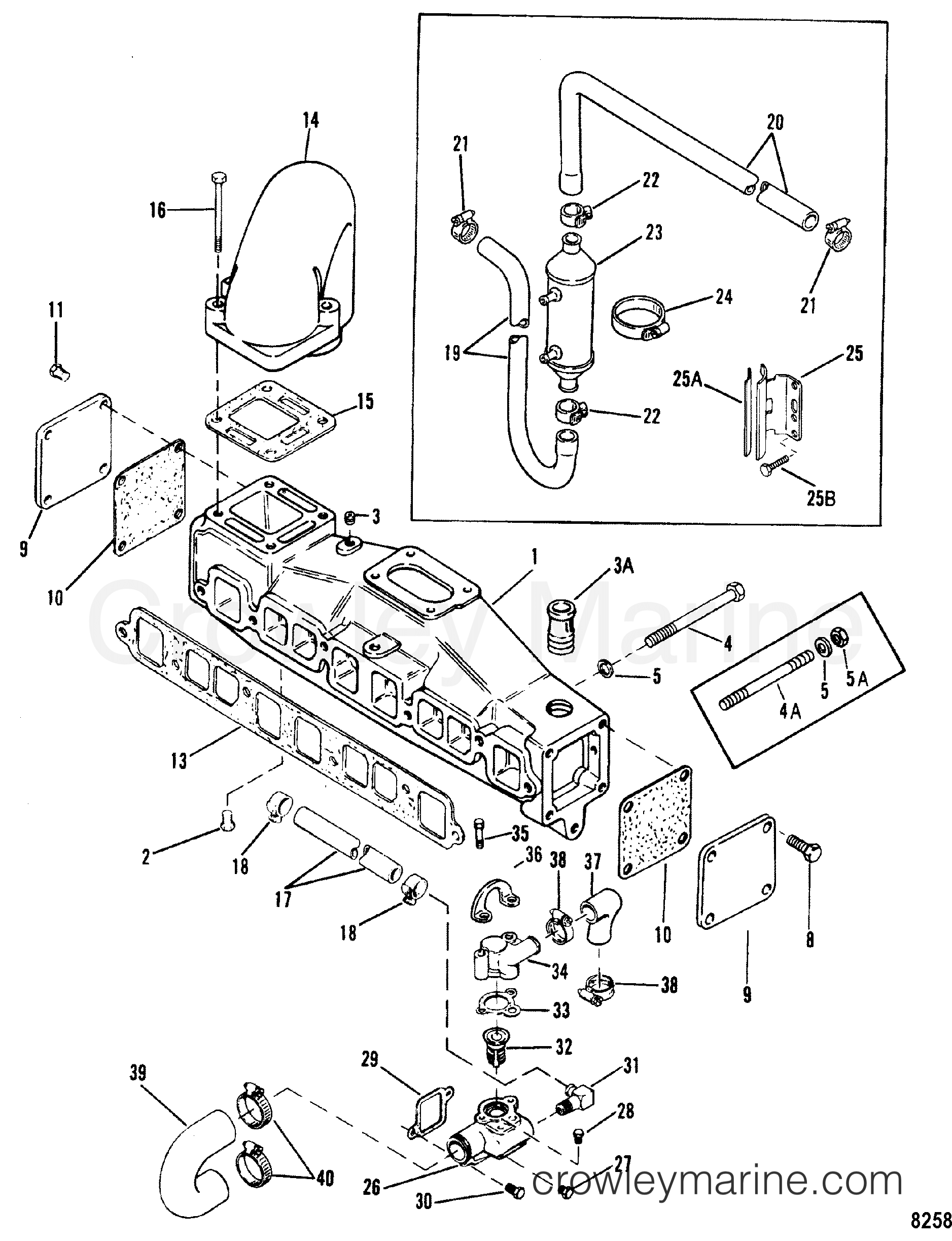 Exhaust Manifold And Water System With End Caps 3 0lx