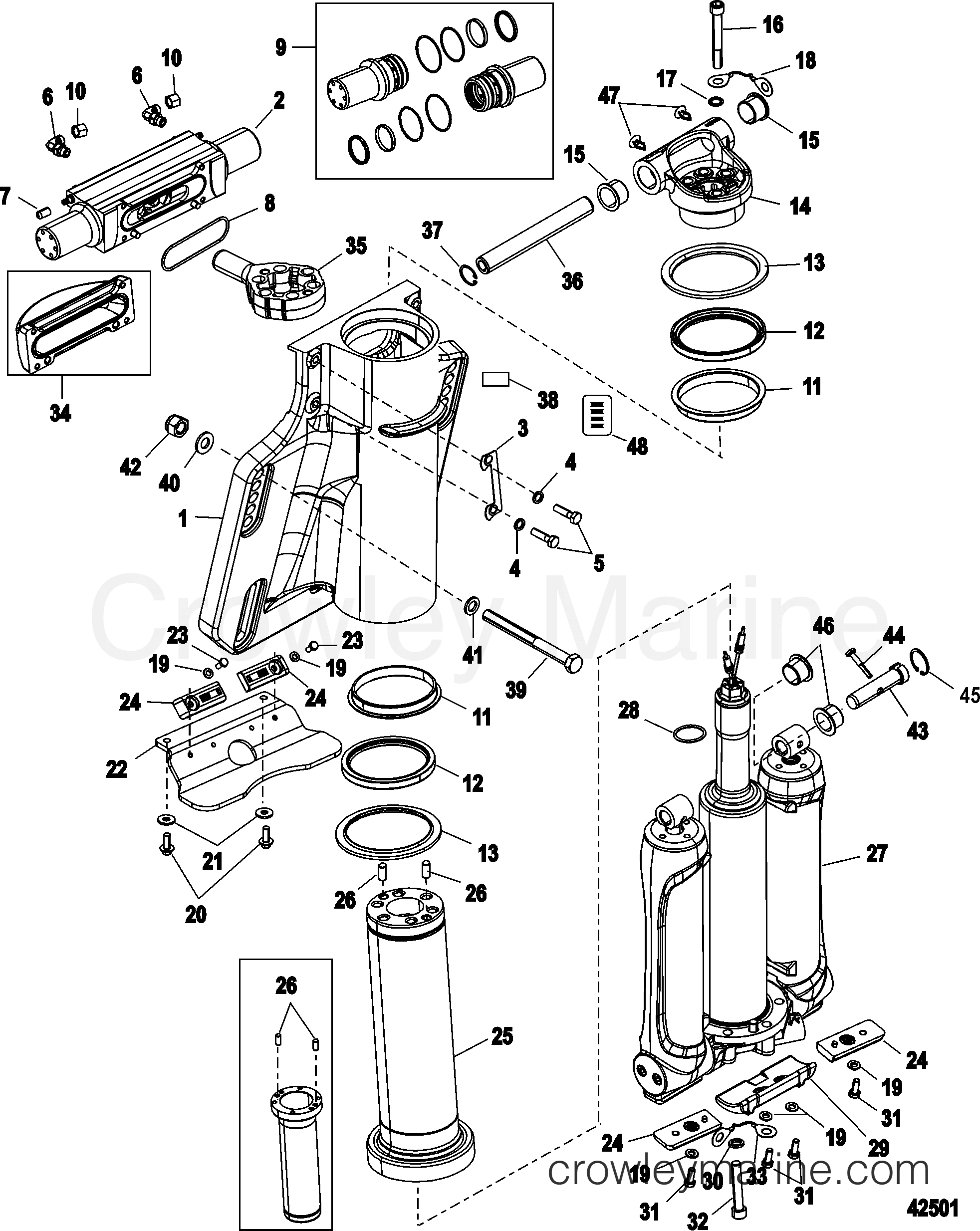 Power Trim Steering Cylinder