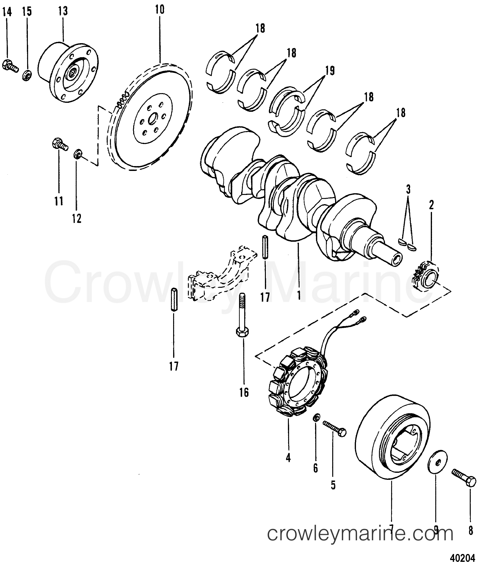 Crankshaft Flywheel And Alternator