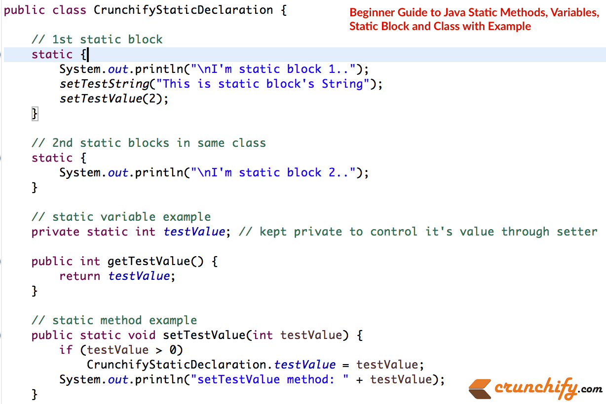 Fundamentals Of Java Static Methods And Variables Crunchify