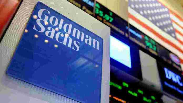 The Goldman Sachs logo at the floor of the New York Stock Exchange.
