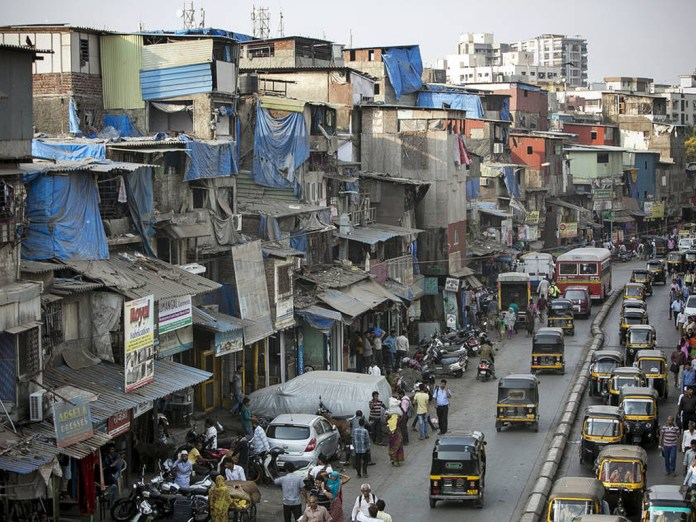 A slum in Mumbai, India. A shocking one out of every five Indians is unbanked and has no access to financial services.
