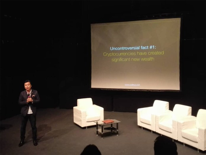 Co-founder and CEO of the world's first luxury access platform for crypto-affluents, Julian Peh opening the inaugural Crypto Rendezvous Penang 2018.